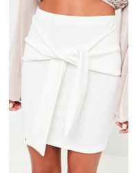 Missguided - White Scuba Mini Skirt - Lyst