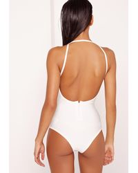 Missguided - White Bandage Strap Detail Swimsuit - Lyst
