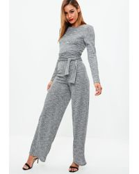 Missguided - Gray Grey Ribbed Belted Jumpsuit - Lyst