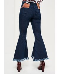 Missguided - Blue Mid-rise Extreme Flare Skinny Jeans - Lyst