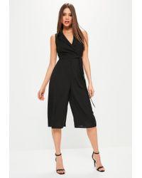 7b3cf1f2cc8 Missguided Petite Black Tuxedo Sleeveless Wrap Jumpsuit in Black - Lyst