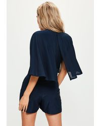 Missguided - Blue Navy Slinky Choker Neck Cape Playsuit - Lyst
