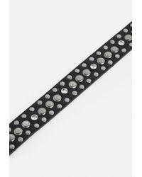 Missguided - Black Thin Metallic Stud Detail Belt - Lyst