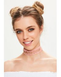 Missguided - Pink Velvet Chain Circle Trim Choker Necklace - Lyst