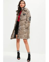 Missguided | Multicolor Animal Print Padded Jacket | Lyst