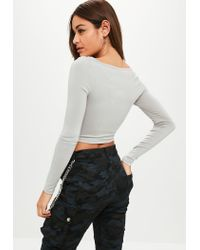 Missguided - Gray Grey Long Sleeve Scoop Neck Crop Top - Lyst
