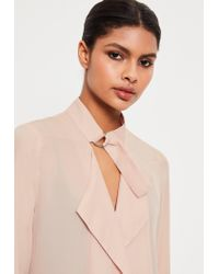 Missguided - Multicolor Nude Tie Choker Chiffon Duster Coat - Lyst
