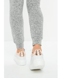 Missguided - White Flatform Lace Up Trainers - Lyst