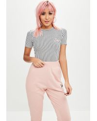 Missguided - Barbie X Petite Black Striped Barbie Bodysuit - Lyst