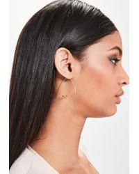 Missguided - Metallic Gold Bar Hoop Earrings - Lyst