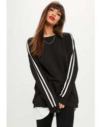 Missguided Black Stripe Sleeve Oversized Sweater in Black - Lyst 5446d81f6