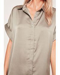 Missguided - Green Oversized Satin Short Sleeve Shirt Dress - Lyst