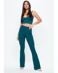 Missguided - Blue V Neck Ribbed Crop Top - Lyst