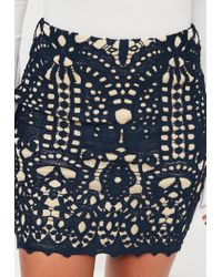 Missguided - Blue Navy Crochet Lace Lined Mini Skirt - Lyst