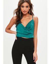 Missguided - Multicolor Teal Satin Drape Strappy Bralette - Lyst
