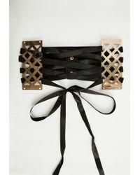 Missguided - Black Metallic Ribbon Lace Up Belt - Lyst