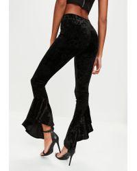 Missguided - Black Velvet Asymmetric Frill Side Cigarette Trousers - Lyst