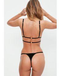 Missguided - Black Velvet Harness Thong - Lyst