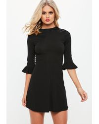 Lyst - Missguided Black Frill Sleeve Rib Skater Dress in Black 9ab7e378a
