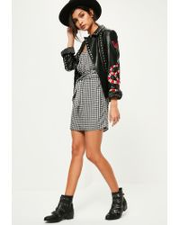 Missguided - Black Gathered Sleeve Tie Waist Gingham Dress - Lyst