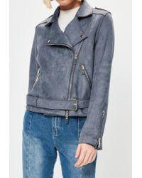 Missguided - Gray Grey Raw Edge Biker Jacket - Lyst