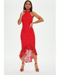 5b7db5429f3 Missguided Red Lace High Neck Fishtail Midi Dress in Red - Lyst