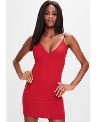 Missguided - Red Spaghetti Strap Bodycon Dress - Lyst