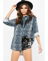 Missguided - Gray Grey Snake Print Double Fringe Chiffon Shirt - Lyst
