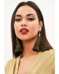 Missguided - Multicolor Khaki Tassel Earrings - Lyst