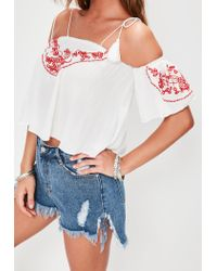 Missguided - White Cheesecloth Red Embroidered Crop Top - Lyst
