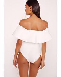 Missguided - Scuba Bardot Bodysuit White - Lyst