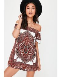 d61897cc99d280 Missguided White Printed Silky Bardot Dress in White - Lyst