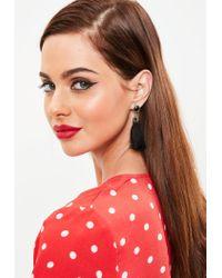 Missguided - Black Diamante Tassel Earrings - Lyst