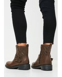 Missguided - Brown Buckle Zip Biker Boots - Lyst