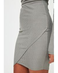 Missguided - Gray Bardot Bodycon Midi Dress - Lyst