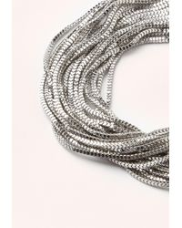 Missguided | Metallic Silver Layered Multi Chain Choker | Lyst
