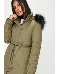 Missguided - Natural Khaki Hooded Parka Jacket - Lyst