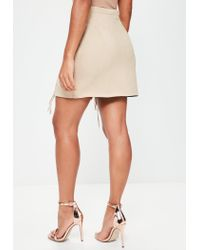 Missguided   Natural Nude Bonded Faux Suede Eyelet Lace Up Mini Skirt   Lyst