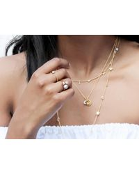 Missoma - Metallic Gold Pave Moon Charm Necklace - Lyst