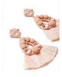 Miss Selfridge - Pastel Pink Tassel Pom Earring - Lyst