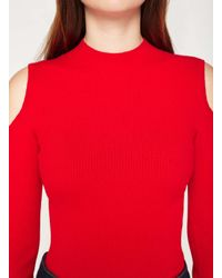 Miss Selfridge - Knitted Red Cold Shoulder Rib Top - Lyst