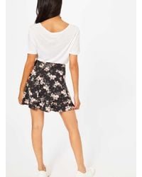 Miss Selfridge - Black Floral Skater Skirt - Lyst