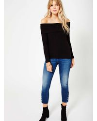 Miss Selfridge - Black Foldover Rib Bardot Top - Lyst