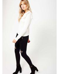 Miss Selfridge - Black Cream Ruffle Front Knit Jumper - Lyst