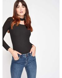 Miss Selfridge - Black Ribbed Choker Body - Lyst