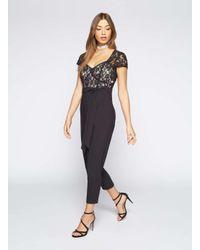 0f65794c703 Lyst - Miss Selfridge Petite Lace Top Jumpsuit in Black