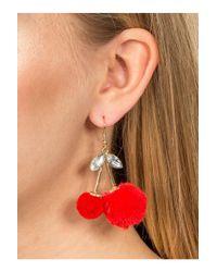 Miss Selfridge - Red Cherry Pom Pom Earrings - Lyst