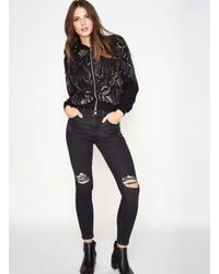 Miss Selfridge | Black Premium Embellished Bomber Jacket | Lyst