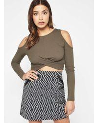 6ef777fce9132 Miss Selfridge Khaki Twist Cold Shoulder Crop Top in Natural - Lyst
