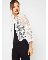 Miss Selfridge | White Premium Lace Bell Sleeve Jacket | Lyst